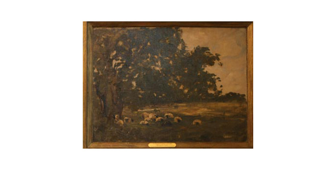 Nathaniel  Hone RHA (1831-1917), Sheep Under Trees, oil on canvas, 52 x 70 cm