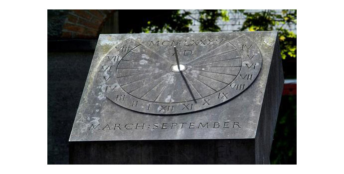 Sundial, Ken Thompson. Limestone - Located between the Stables Courtyard and the main building.