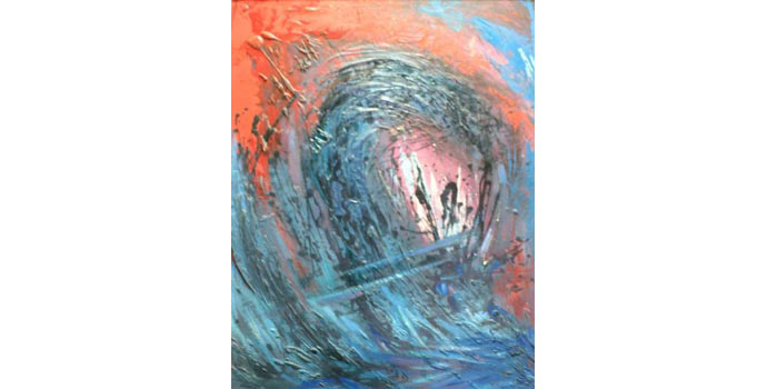 Magdi Adawy, Abstract Two, 1990. Oil on board 69 x 49 cm, ULAC.1992.