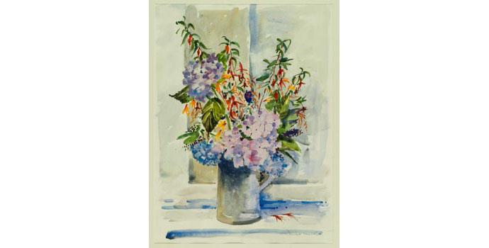 Vincent Lambe (1941-), Blue Hydrangea, 1992. Watercolour on paper, 71.5 x 53 cm, WCSI.1992