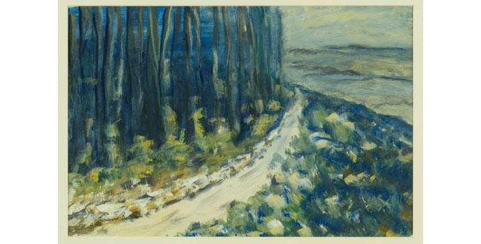 Vivienne Baldwin, A Mountain Road. Gouache on paper 36 x 53.5 cm, WCSI.2000