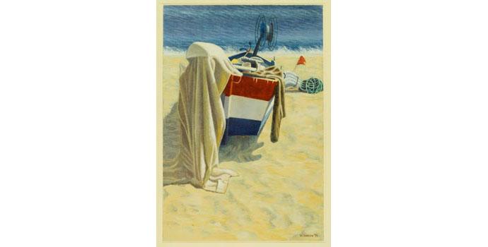 William Carron (1930-), The Shrouded Outboard, Burriana, 1991. Acrylic on paper 75 x 51.5 cm, WCSI.1991