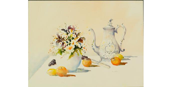 Margaret Kent (1945-), Nana's Coffee Pot 2005. Watercolour on paper, 36.5 x 52 cm, WCSAI 2006