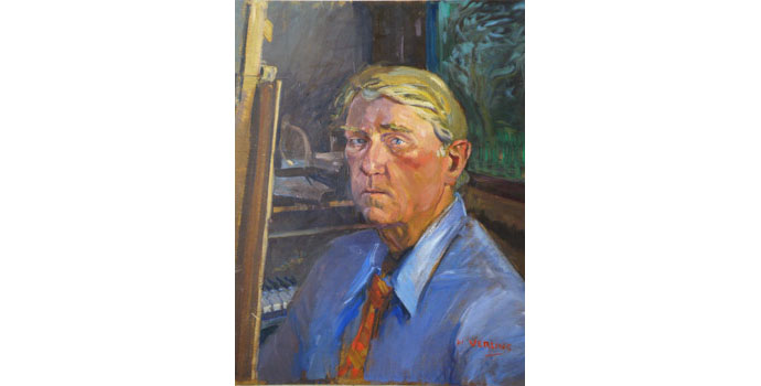 Walter K Verling H.R.H.A, Self Portrait with steinway grand piano, 2000-2012. Oil on plywood 61.2 x 50.9 cm, NSPCI.2012.475.