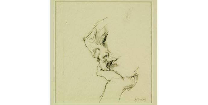 Grainne Dowling, Roisin Asleep, 2003. Pencil drawing, 29.4 x 28 cm, WCSI.2003.003