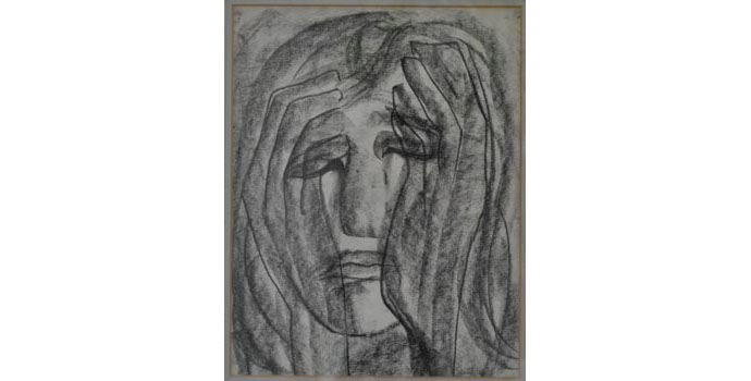 Anne Yeats (1919-2001) Girl Crying, c.1944 crayon and pencil on paper 28.5 x 22.3 cm IACI.