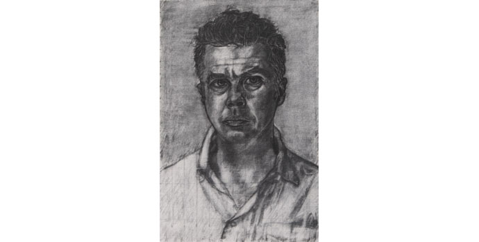 Gary Coyle RHA, Self Portrait, 2010. Charcoal on paper 89 x 63cm, NSPCI.2010.439.