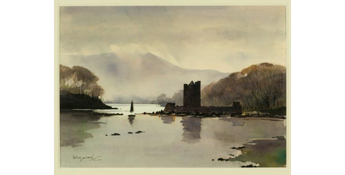 Anthony Loughran, Enchanted Light: Narrow Water, Co.Down. Watercolour on paper, 51.5 x 72.5 cm, WCSI.1997