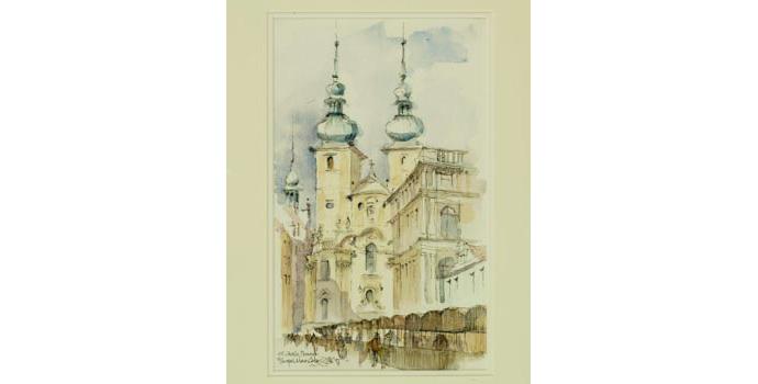 Fergal MacCabe (1939-), St.Gail's, Prague, 1997. Pen and wash, 34 x 20 cm, WCSI.1993