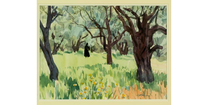 Gerald Bruen (1912-), Olive Trees, Lindos, 1992. Watercolour on paper, 28 x 38cm, WCSI.2000