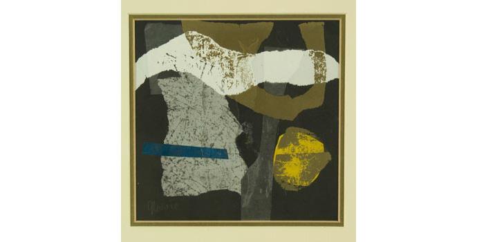 Gerald Davis (1938-) Dancing Forms, 1980. Mixed media on card, 19 x 19 cm, WCSI.1980