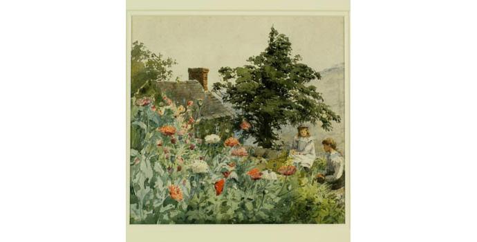 Helen Colvill (1856-1953,) Untitled-Garden Scene. Watercolour on paper, 21 x 21.5 cm WCSI.1998