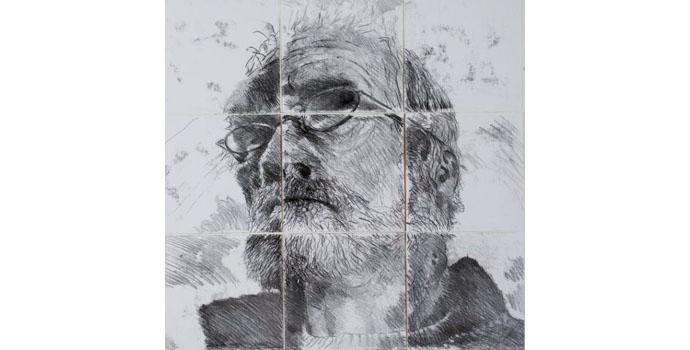 Joe Wilson - Self-Portrait 2014 Monoprint on Fabriano 76 x 77cm, NSPCI.2014.494.