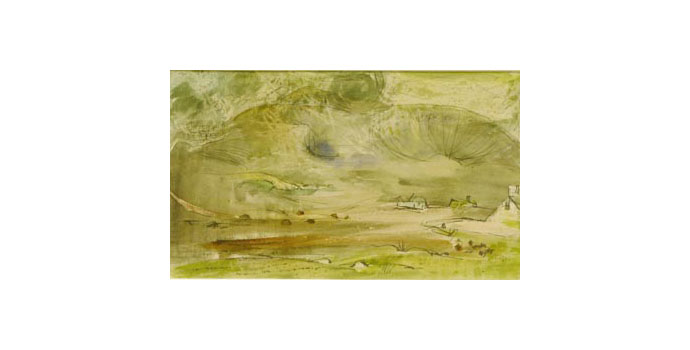 Louis Le Brocquy (1916-) Achill Landscape, 1946 watercolour and ink on paper 11.6 x 19.5 cm IACI.2003.012