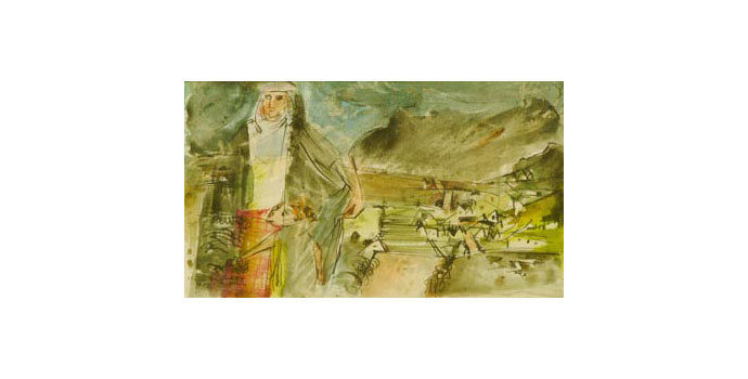 Louis Le Brocquy (1916-) Achill Woman, 1946 watercolour and ink on paper 11.6 x 19.5 cm IACI.2003.011