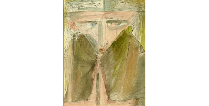Louis Le Brocquy (1916-) Monk Praying, 1946 watercolour and ink on paper 22.9 x 22.9 cm IACI.2003.009