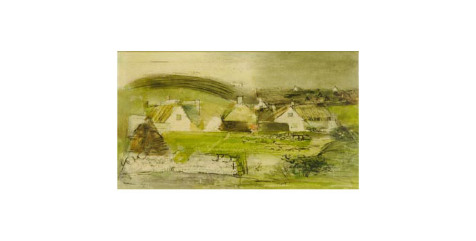 Louis Le Brocquy (1916-) Dooagh, Achill, 1946 watercolour and ink on paper 11.9 x 19.2 cm IACI.2003.013