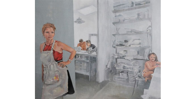 Nuala Goodman - Self-Portrait, with Vincent, Luca and Frances, 2014. Acrylic on Linen 60 x 80cm, NSPCI.2014.489.